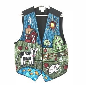 Funny Ugly Sequin Beaded Farm Cow Barn Sheep Vest